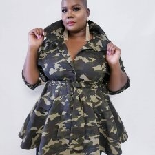Big Size 5XL Camo Print Sequin Patchwork Coats OSS-19456