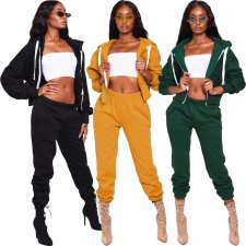 Solid Hooded Tracksuit Two Piece Pants Sets FNN-8325
