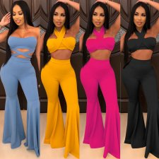 Sexy Crop Tops And Boot Cut Pants 2 Piece Sets NY-7053
