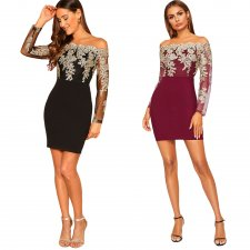Sexy Lace Patchwork Slash Neck Mini Dresses LX-8922