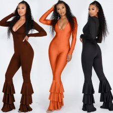 Solid V Neck Ruffles Leg One Piece Jumpsuits MEI-9062