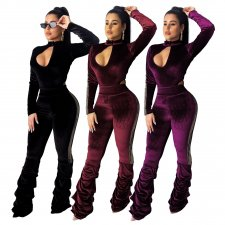 Sexy Velvet Long Sleeve Bodycon Jumpsuits SMR-9520
