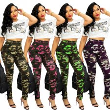 Camo Print Ripped Holes Skinny Leggings CM-641