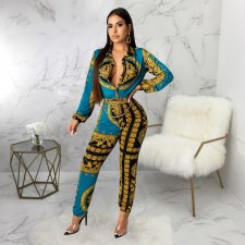 Vintage Print Long Sleeve One Piece Jumpsuits SMR-9485