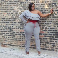 Plus Size 4XL Sexy One Shoulder Ruffles Jumpsuits SMR-9500