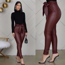 PU Leather High Waist With Belt Skinny Pencil Pants WZ-8247