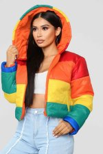 Plus Size Rainbow Color Hooded Zipper Winter Parka Coats SY-010