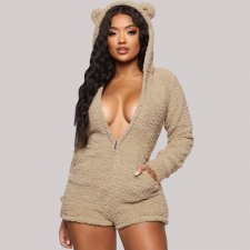 Cute Hooded Zipper Long Sleeves Plush Rompers DM-8107