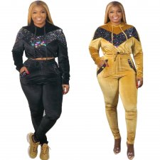 Plus Size Sequins Patchwork Hooded 2 Piece Sets OMF-184