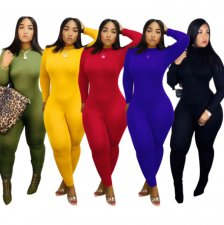 Solid Long Sleeves Bodycon One Piece Jumpsuits SFY-066