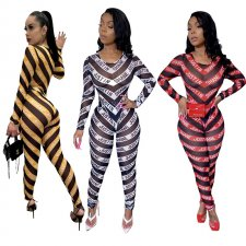 Sexy Striped Mesh Bodysuit And Pants Two Piece Sets YF-9565