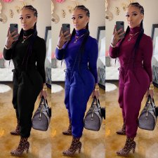 Solid Turtleneck Long Sleeves Two Piece Sets NY-8874