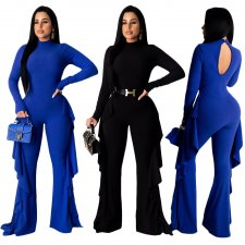 Solid Ruffles Long Sleeves One Piece Jumpsuits SH-3723