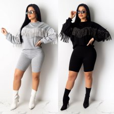 Casual Tassel Long Sleeves Two Piece Shorts Set LUO-6251
