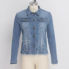 Casual Pearls Long Sleeves Denim Jacket Coat SMR-9511