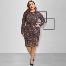 Plus Size 5XL Sexy Sequin Backless Midi Dresses OSS-19525