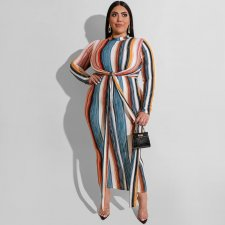 Big Size 5XL Colored Striped Sashes Maxi Dress OSS-19541
