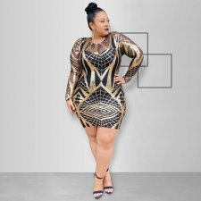 Plus Size Sexy Sequins Long Sleeve Mini Dress OSS-19502