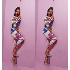 Plus Size Lip Print Hot Drilling Skinny Jumpsuits SC-714