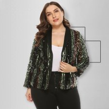 Plus Size 5XL Sequins Stipe Blazer Coat OSS-19469