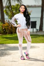 Plus Size Shiny Sequined Skinny Long Pants NY-8684