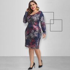 Plus Size 5XL Sexy Sequins Long Sleeve Dresses OSS-19526