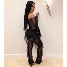 Sexy Off Shoulder Ruffles Mesh See Through Jumpsuit PIN-8478