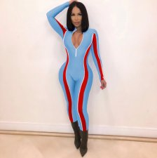Contrast Color Long Sleeve Skinny Activewear Jumpsuit MEI-9076