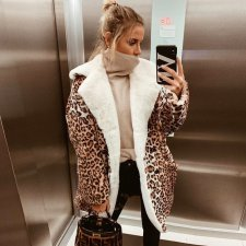Leopard Print Lapel Winter Warm Coats SH-3739