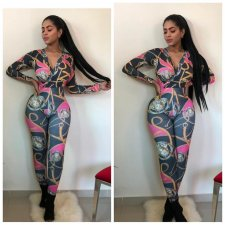 Chain Print V Neck Long Sleeve One Piece Jumpsuits CY-2108