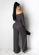 Polka Dot Print Slash Neck Sashes Wide Leg Jumpsuits YIS-843