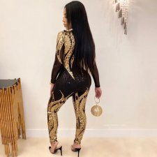 Plus Size Sexy Sequin Long Sleeve Skinny Jumpsuits CYA-8189