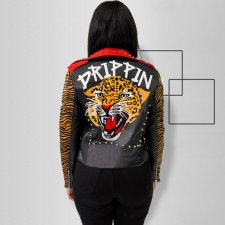 Fashion Leather Rivet Tiger Head Print Zipper Jacket OSS-19515