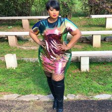 Plus Size Colorful Sequin Short Sleeve Mini Dress OSS-19472