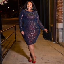 Plus Size 5XL Sequin Long Sleeve Bodycon Dress OSS-19477