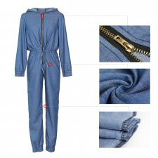 Casual Denim Hooded Long Sleeve Jeans Jumpsuits ZS-075