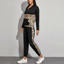 Leopard Printed Patchwork Two Piece Pants Set SH-2055