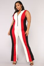 Contrast Color Sleeveless Zipper Wide Leg Jumpsuit ML-7126