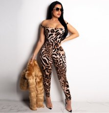 Leopard Print Sexy Off Shoulder Lace Up Jumpsuit BY-2085