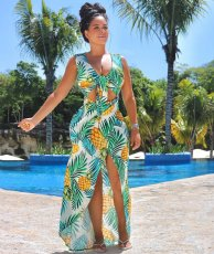 Pineapple Print Hollow Out Maxi Dress OM-1526