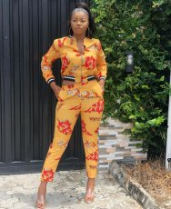Printed Two Piece Jacket Tops And Pant Set MEM-8163