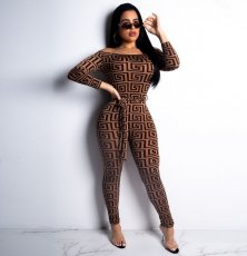 Geometric Print Slash Neck Long Sleeves Jumpsuit ORY-5074