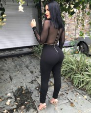 Sexy Long Sleeve Perspective Mesh Spliced Jumpsuit WZ-8139