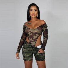 Camo Print Bodysuit And Shorts Two Piece Sets MDO-9091