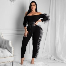 Sexy Slash Neck Feather Splice Jumpsuits Without Belt FNN-8349