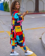 Color Block Patchwork Full Sleeve Long Coat BLX-7357
