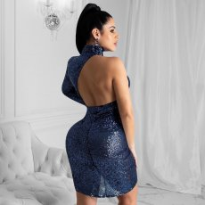 Sexy Sequined Backless One Shoulder Club Dress YD-8165