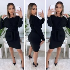 Solid Long Sleeves Sashes Bodycon Dresses YM-9189
