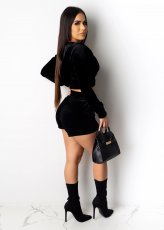Casual Velvet Hooded Zipper Two Piece Shorts Set FNN-8356