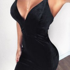 Sexy Velvet Deep V Backless Bodycon Straps Club Dress FL-83411